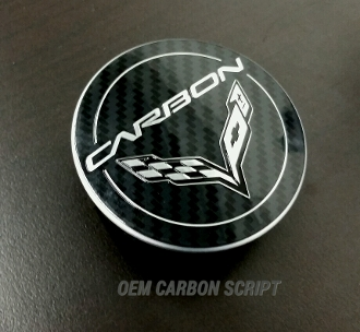 OEM GM C7 CARBON SCRIPT CORVETTE CENTER CAPS