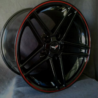 Corvette Black C6 Z06 Style Wheels With Red Lip