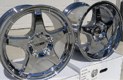 C4 ZR1 STYLE CHROME CORVETTE WHEELS STAGGERED 17X9.5 & 17X11