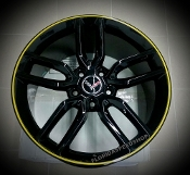 GLOSS BLACK C7 Z51 STYLE WHEELS WITH YELLOW LIP FOR C6 18/19