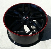 GLOSS BLACK C7 Z51 STYLE WHEELS WITH RED LIP FOR C6 18/19 COMBO