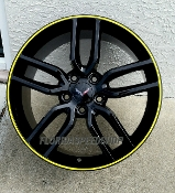 GLOSS BLACK C7 Z51 STYLE WHEELS WITH YELLOW LIP 18/19 COMBO