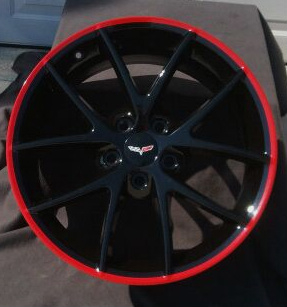Corvette Gloss Black Spyder Wheels With Custom Red Striped